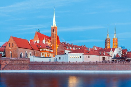 reference point: View of the Cathedral of St. John the Baptist on the island Tumski in Wroclaw on the sunset. Poland.