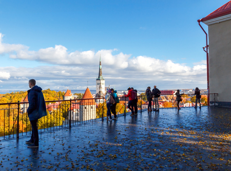 reference point: View of the old city streets, roof tops and the bay from the observation deck of the Toompea Hill.