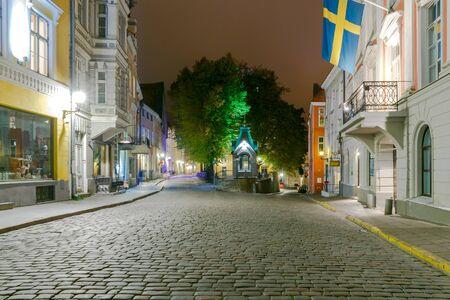 tallinn: Night Street in the Old Tallinn.