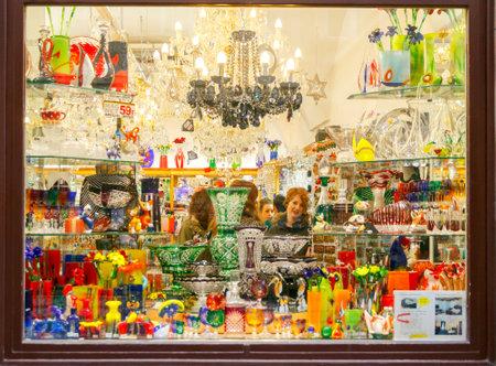 wine trade: Prague, Czech Republic - December 24, 2015:  Showcase production of the famous Czech Bohemian glass. One of the Czech business cards. Editorial