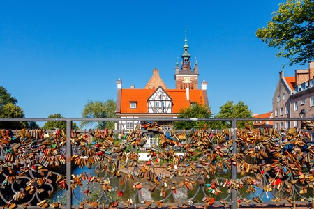 reference point: Big old mill on the canal in Gdansk. Stock Photo