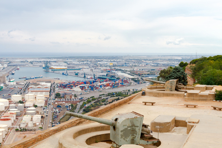 montjuic: The artillery battery on the hill of Montjuic. Barcelona. Stock Photo