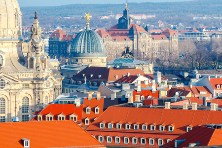reference point: View of Dresden from the height of the observation platform of the church of the Holy Cross. Stock Photo