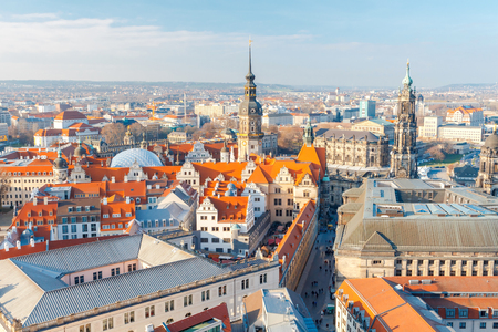 center city: View of Dresden from the height of the observation platform of the church of the Holy Cross. Stock Photo