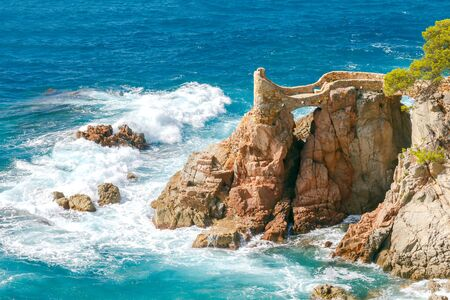 costa brava: View of the rocky coast of the Costa Brava near Lloret de Mar resort.