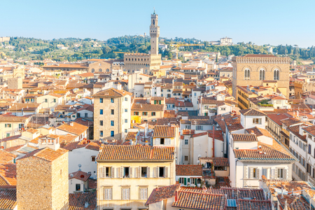 reference point: View of Florence from the bell tower of the Duomo Giottos Campanile. Stock Photo