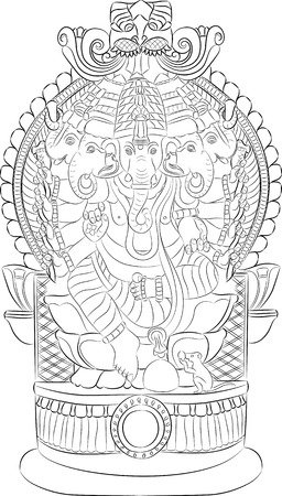 indian pattern: Indian god Ganesha with an elephants head on the throne.