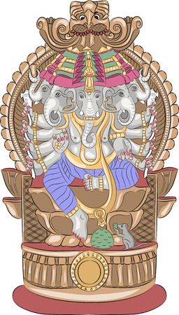 elephant head: Indian god Ganesha with an elephant head on the throne.