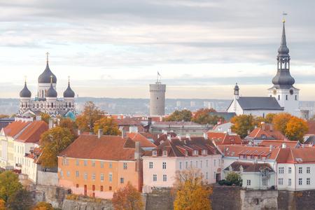 herman: Tallinn, Estonia. View of the upper city on the hill Toompea. Stock Photo