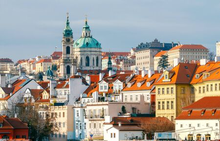 unesco in czech republic: View of the old town and the church of St. Nicholas in Prague.