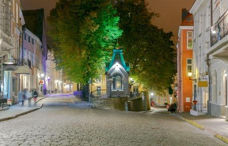 tallinn: Night vintage Street in the Old Tallinn.
