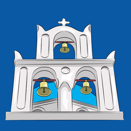 Greek church and bell tower with a cross in Santorini. Illustration