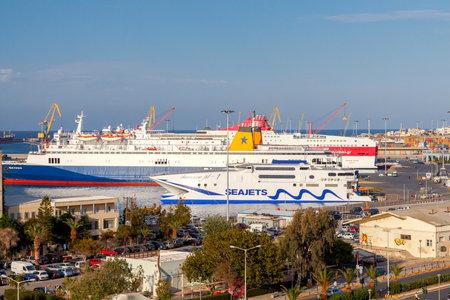 passenger ships: Heraklion, Greece - April 23, 2016: Passenger ships in the sea port of Heraklion. Port in Iraklone is a major passenger and cargo hub in Crete.