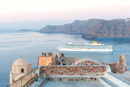 tera: Beautiful aerial view of the sea and passenger ship from Cape Byzantine.
