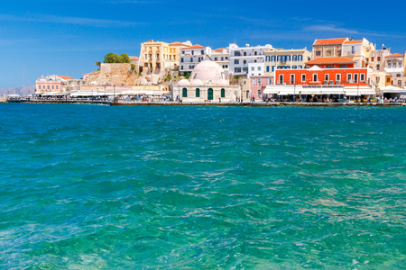 mol: View of the embankment and the mosque Kucuk Hasan Pasha in the Venetian harbor. Crete. Greece. Stock Photo