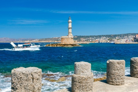 mol: Old lighthouse in Chania on a sunny windy day.