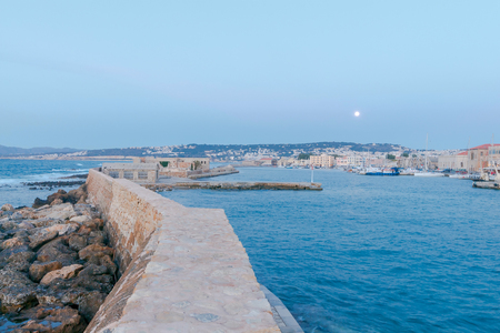 reference point: Breakwater protects the harbor of Chania.
