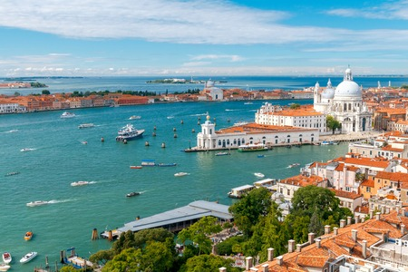 love dome: Aerial view of the lagoon and the church of Santa Maria della Salute. Venice, Italy
