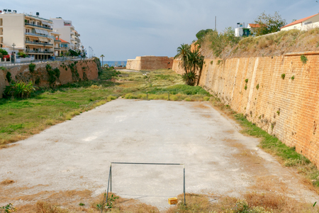 vacant lot: Improvised soccer field in a vacant lot in Chania. Greece. Crete. Stock Photo