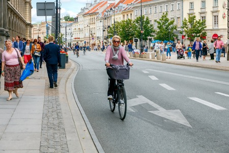 means of transportation: Warsaw, Poland - July 26, 2015: Bicycles are the most popular and environmentally friendly means of transportation in Warsaw. Editorial