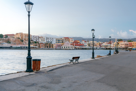 reference point: View of the embankment with lanterns and the old Venetian harbor of Chania. Crete. Greece.
