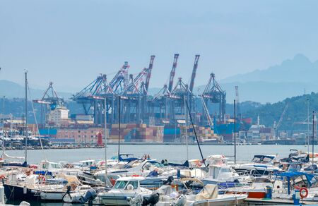 View of cargo port and container terminal in La Spezia. Italy. Liguria.