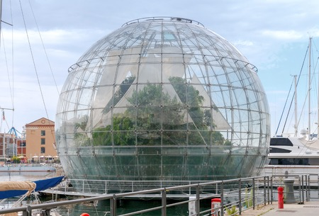 biosphere: The giant glass sphere biosphere in the seaport of Genoa.