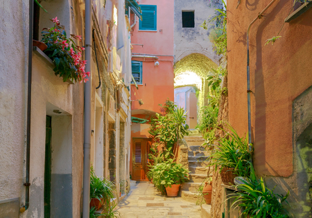 Old, narrow, medieval streets in the Italian village Vernazza at night. Cinque Terre National Park, Liguria, Italy. Stock Photo
