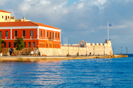 benchmarks: Old fort on the coast of Chania. Greece. Crete. Stock Photo