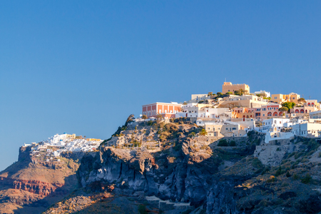 Aerial view of the traditional white houses of Fira. Santorini. Greece.