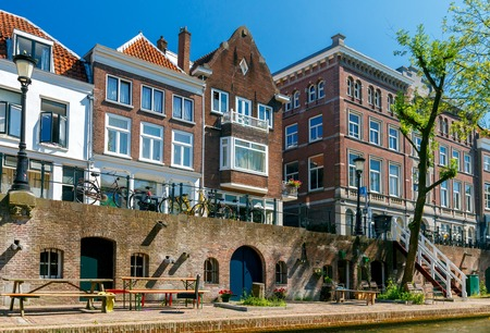 The central old city canal around the historic city. Utrecht. Netherlands.