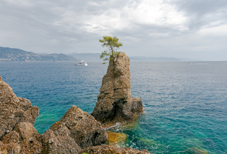 reference point: A view of the picturesque coast of Cinque Terre National Park near Portofino. Italy. Liguria. Stock Photo
