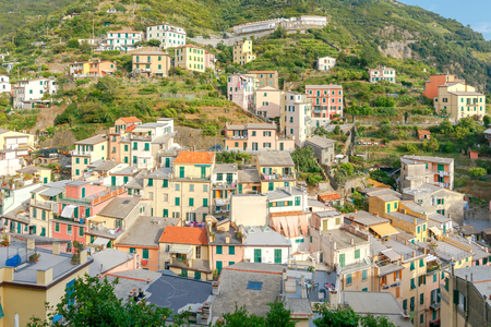 reference point: Riomaggiore village in the Cinque Terre National Park. Italy. Liguria.