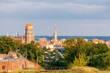Aerial view of the old city from the hill Gradova mountain. Gdansk. Poland. Stock Photo