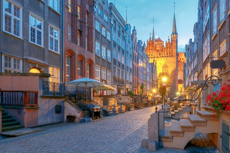 Mariacka Street in Gdansk. Old medieval street is very popular among honeymooners and tourists.