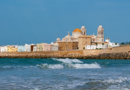 View of the towers and dome of the cathedral on a sunny day. Cadiz. Spain.
