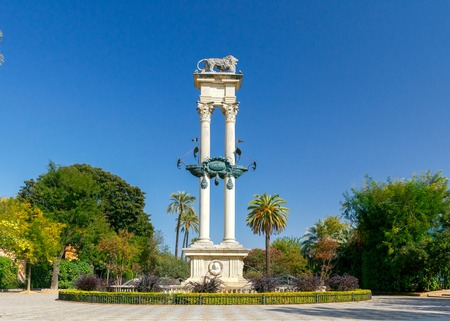 murillo: Columbus Monument in Gardens of Murillo in Seville, Andalusia, Spain.