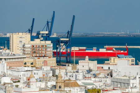 Aerial view of the city from the observation tower. Cadiz. Andalusia.