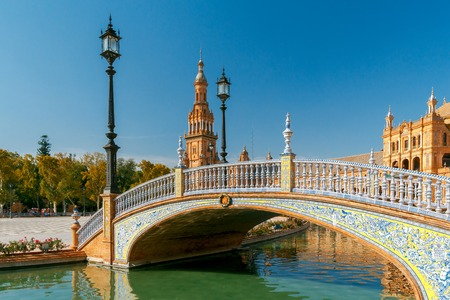 seville: Facades of buildings on the Spanish square or the Plaza de Espana. Andalusia. Stock Photo
