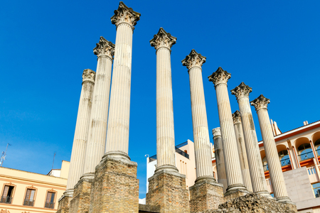 Ancient Roman columns on the excavation of a Roman temple in Cordoba. Stock Photo
