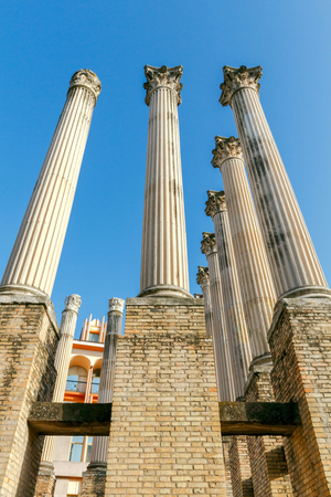 roman columns: Ancient Roman columns on the excavation of a Roman temple in Cordoba. Stock Photo
