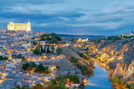 mancha: Scenic view of Toledo from the height at sunset. Spain. Castilla la Mancha Stock Photo