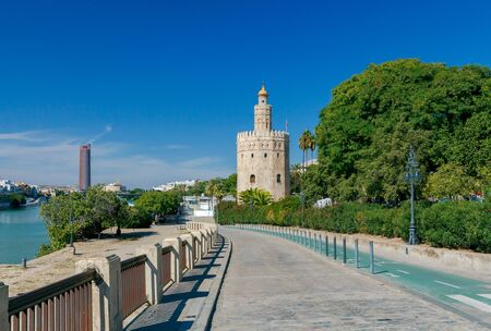 reference point: Golden Tower Torre del Oro on the banks of the Guadalquivir River. Sevilla. Andalusia. Spain.