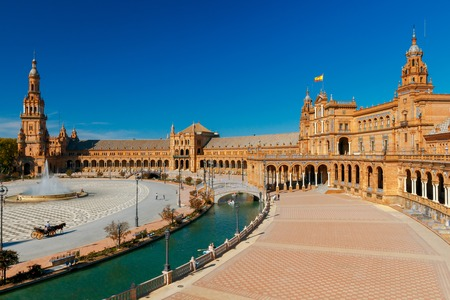 Facades of buildings on the Spanish square or the Plaza de Espana. Andalusia. Stock Photo