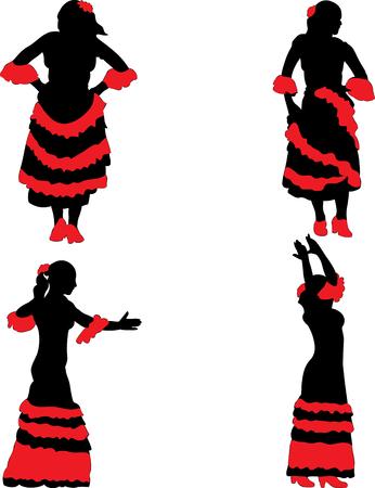 danseuse flamenco: Vecteur. Silhouette de danseuse de flamenco en robe noire et rouge.