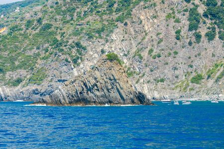 View of the rocky coast in the Cinque Terre. Liguria. Italy.