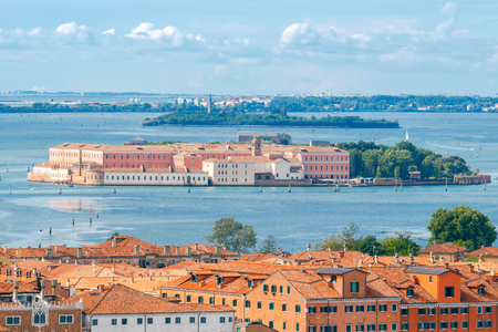 reference point: Aerial view of the Venetian Lagoon and islands. Venice. Italy. Stock Photo