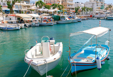 mol: Boats and sailboats in the old Venetian harbor of Chania. Greece. Crete. Stock Photo