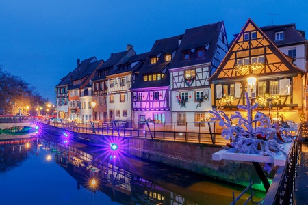 the little venice: Colmar. City Canal on the sunset..