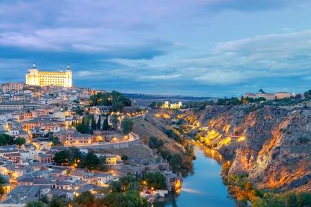 mancha: Scenic view of Toledo from the height at sunset. Spain. Castilla la Mancha.